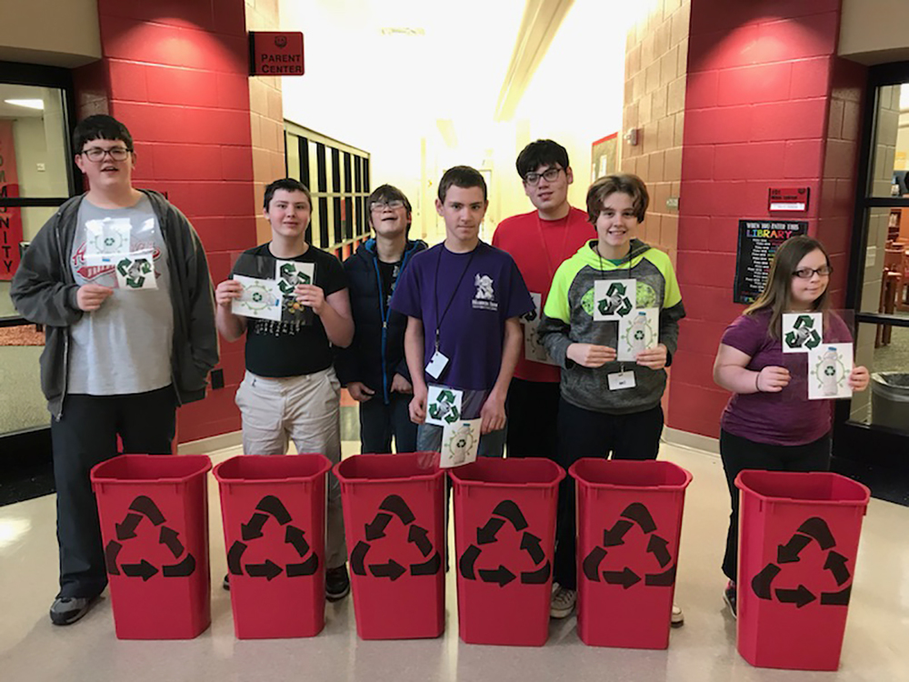 Independent Living Students Help With Recycling