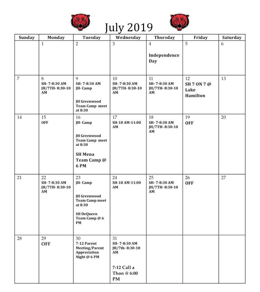 NEW FOOTBALL CALENDAR FOR JULY!
